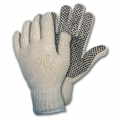 Memphis 9658 String Knit Gloves - 7 Gauge Cotton/Polyester - PVC Dots One Side - Natural
