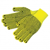 Memphis 9662 String Knit Gloves - 7 Gauge Acrylic - PVC Dots Both Sides - Hi-Vis Lime