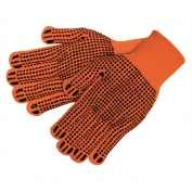 Memphis 9663 String Knit Gloves - 7 Gauge Acrylic - PVC Dots Both Sides - Hi-Vis Orange