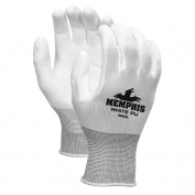 Memphis 9665 PU Coated Palm String Knit Gloves  - 13 Gauge Nylon Shell - White