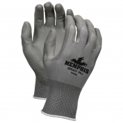 Memphis 9666 PU Coated Palm & Finger Gloves - 13 Gauge Nylon Shell - Gray
