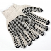 Memphis 9667 String Knit Gloves - 7 Gauge Cotton/Polyester - PVC Dots Both Sides -  Natural
