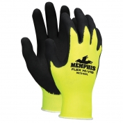 Memphis 96731HV Flex Latex Coated Gloves - 13 Gauge Nylon/Polyester Shell - Hi-Vis Yellow