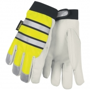 Memphis 968 Multi-Task Gloves - Insulated Grain Goatskin - Hi-Vis Yellow w/ Reflective Stripe