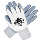 Memphis 9683 UltraTech Nitrile Coated Palm String Knit Gloves - 15 Gauge Nylon Shell - White/Gray