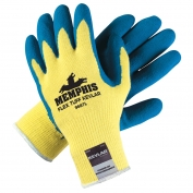 Memphis 9687 FlexTuff Latex Coated Gloves - 10 Gauge DuPont Kevlar Fibers - Yellow/Blue