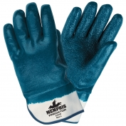 Memphis 9761R Predator Fully Coated Rough Nitrile Gloves  - Safety Cuff - Blue / White