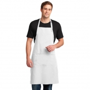 Port Authority A700 Easy Care Extra Long Bib Apron with Stain Release - White