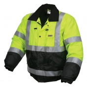 River City BBCL3L Luminator Class 3 Black Bottom Bomber Jacket - Yellow/Lime with Black Bottom