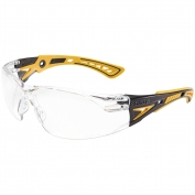 Bolle 40243 Rush+ Safety Glasses - Yellow/Black Temples - Clear Platinum Anti-Fog Lens