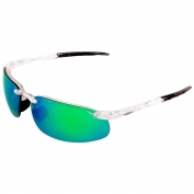 Bullhead BH10116AF Swordfish Safety Glasses - Clear Frame - Green Mirror Anti-Fog Lens