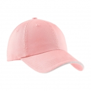 Port Authority C830 Sandwich Bill Cap with Striped Closure - Light Pink/White