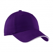Port Authority C830 Sandwich Bill Cap with Striped Closure - Purple/White