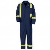 Bulwark FR Men's Classic Coverall with Reflective Trim - EXCEL FR - 9.0 oz. - Navy