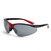 CrossFire Brigade Safety Glasses - Black/Red Frame - Silver Mirror Lens