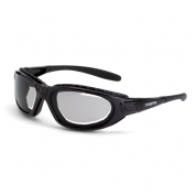 CrossFire Journey Safety Glasses - Black Foam Lined Frame - Indoor/Outdoor Anti-Fog Mirror Lens