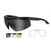 Wiley X Talon Safety Glasses w/ RX Insert - Matte Black Frame - Grey, Clear & Rust Lenses