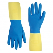CLC Work Gloves - Blue Neoprene over Yellow Latex Unsupported