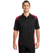 CornerStone CS416 Select Snag-Proof Two Way Colorblock Pocket Polo - Black/Red