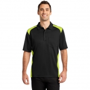 CornerStone CS416 Select Snag-Proof Two Way Colorblock Pocket Polo - Black/Shock Green