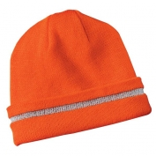 CornerStone CS800 Enhanced Visibility Beanie with Reflective Stripe - Orange