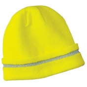 CornerStone CS800 Enhanced Visibility Beanie with Reflective Stripe - Yellow/Lime