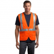 CornerStone CSV405 Type R Class 2 Mesh/Solid Safety Vest - Safety Orange