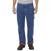 Dickies DU227 Relaxed Fit Straight Leg Flannel-Lined Carpenter Denim Jeans - Stonewashed Indigo Blue