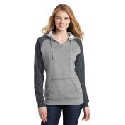 District DT296 Juniors Core Fleece Full-Zip Hoodie - Heathered Grey/Heathered Charcoal