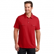 District Made DM333 Mens Jersey Double Pocket Polo - Classic Red