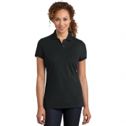 District Made DM425 Ladies Stretch Pique Polo - Black