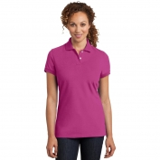District Made DM425 Ladies Stretch Pique Polo - Pink Raspberry