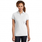 District Made DM425 Ladies Stretch Pique Polo - White