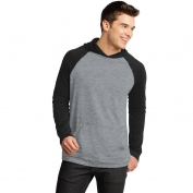District DT128 Young Mens 50/50 Raglan Hoodie - Black/Heathered Nickel