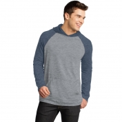 District DT128 Young Mens 50/50 Raglan Hoodie - Heathered Dark Navy/Heathered Nickel