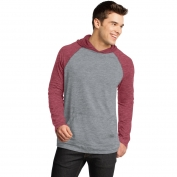 District DT128 Young Mens 50/50 Raglan Hoodie - Heathered Deep Red/Heathered Nickel