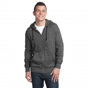 District DT192 Young Mens Marled Fleece Full-Zip Hoodie - Marled Black