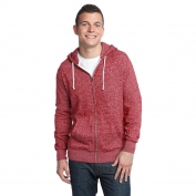 District DT192 Young Mens Marled Fleece Full-Zip Hoodie - Marled Deep Red