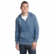 District DT192 Young Mens Marled Fleece Full-Zip Hoodie - Marled Storm Blue