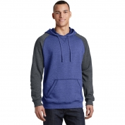 District DT196 Young Mens Lightweight Fleece Raglan Hoodie - Heathered Deep Royal/Heathered Charcoal