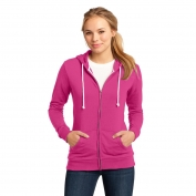 District DT290 Juniors Core Fleece Full-Zip Hoodie - Dark Fuchsia