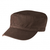District DT605 Distressed Military Hat - Chocolate Brown
