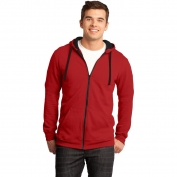 District DT800 Young Mens Concert Fleece Full-Zip Hoodie - New Red
