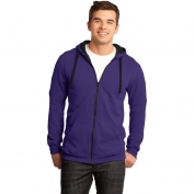 District DT800 Young Mens Concert Fleece Full-Zip Hoodie - Purple