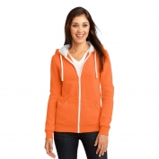 District DT801 Juniors Concert Fleece Full-Zip Hoodie - Neon Orange