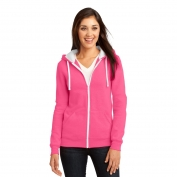 District DT801 Juniors Concert Fleece Full-Zip Hoodie - Neon Pink