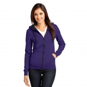 District DT801 Juniors Concert Fleece Full-Zip Hoodie - Purple