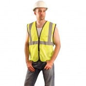 OccuNomix ECO-GCZ Type R Class 2 Value Mesh Safety Vest with Zipper - Yellow/Lime