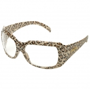 Elvex SG-42C-LEO Chica Safety Glasses - Leopard Print Frame - Clear Lens
