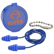 Elvex EP-412 QUATTRO Reusable Corded Ear Plugs with Case and Chain - NRR 27